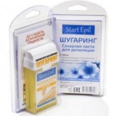 Aravia Professional Start Epil - Набор для шугаринга, сахарная паста в картридже Средняя 100 г и полоски для депиляции Aravia Professional (Россия)
