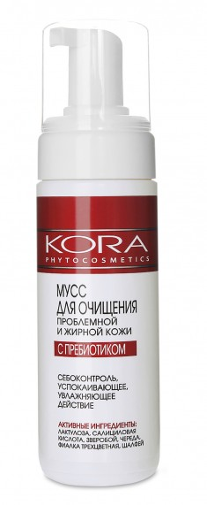 KORA Мусс для очищения проблемной и жирной кожи с пребиотиком 160 мл