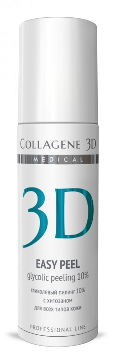MEDICAL COLLAGENE 3D Гель-пилинг с хитозаном, на основе гликолевой кислоты 10% (pH 2,8) / Easy Peel 130 мл проф.