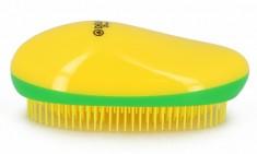 DEWAL BEAUTY Щетка массажная для легкого расчесывания волос, овальная, цвет желто-зелено-желтый