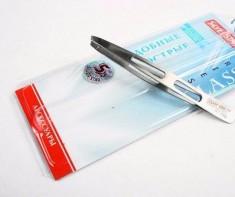 SILVER STAR Пинцет косметологический, косой с отверстиями / CLASSIC 100 мм