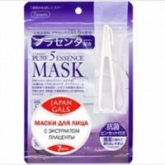 Japan Gals Pure 5 Essential - Маски для лица с плацентой, 7 шт.