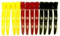 DEWAL PROFESSIONAL Зажим для волос Волна цветной, пластик 8 см 12 шт/уп