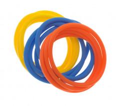 DEWAL BEAUTY Резинки для волос, силикон, голубой, желтый, оранжевый 12 шт