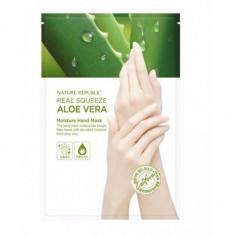 маска для рук с экстрактом алоэ nature republic real squeeze aloe vera moisture hand mask