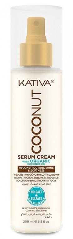 KATIVA Крем-сыворотка восстанавливающая с органическим кокосовым маслом для поврежденных волос / COCONUT 200 мл