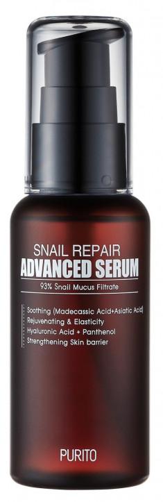 PURITO Сыворотка восстанавливающая с 93% улиточного муцина / Snail Repair Advanced Serum 60 мл