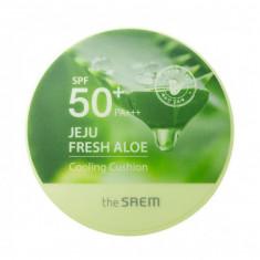 кушон охлаждающий солнцезащитный the saem jeju fresh aloe cooling cushion natural baige spf 50+pa+++