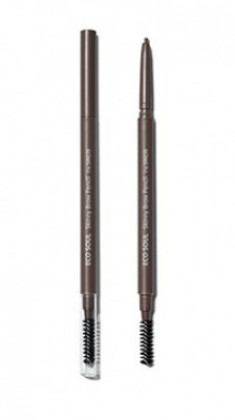 Карандаш для бровей Eco Soul Skinny Brow Pencil 03 Dark Brown The Saem