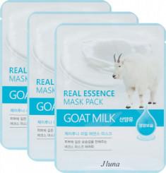 Тканевая маска с козьим молоком Juno JLuna Real Essence Mask Pack Goat Milk 25мл*3шт