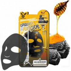 Маска тканевая с древесным углем и медом Elizavecca Black Charcoal Honey Deep Power Ringer Mask