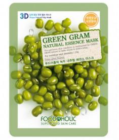 Тканевая 3D маска с экстрактом бобов Мунг FoodaHolic Green Gram Natural Essence Mask 23мл