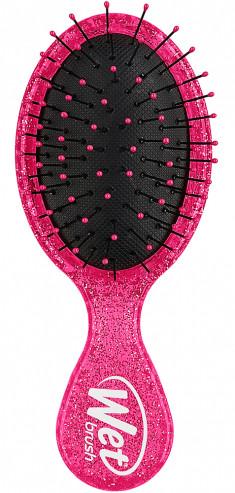 WET BRUSH Щетка для спутанных волос мини Рок н ролл, розовая / WET BRUSH MINI ROCK N ROLL DETANGLER-PINK GLITTER