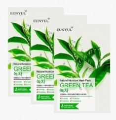 Набор тканевых масок с экстрактом зеленого чая EUNYUL NATURAL MOISTURE MASK PACK GREEN TEA 23мл*3 шт