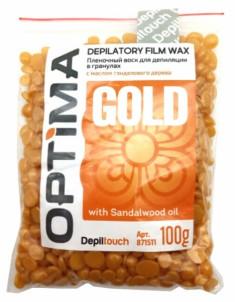 DEPILTOUCH PROFESSIONAL Воск пленочный в гранулах, с маслом сандалового дерева / OPTIMA GOLD 100 г