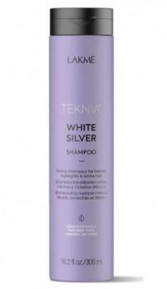 Шампунь тонирующий для нейтрализации желтого оттенка волос Lakme Teknia WHITE SILVER SHAMPOO 300 мл