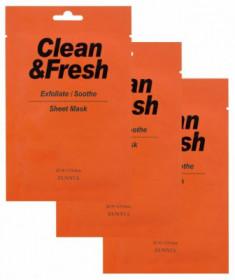 Набор тканевых масок для гладкости и регенерации кожи Clean & Fresh Exfoliate/Soothe 22мл*3 EUNYUL