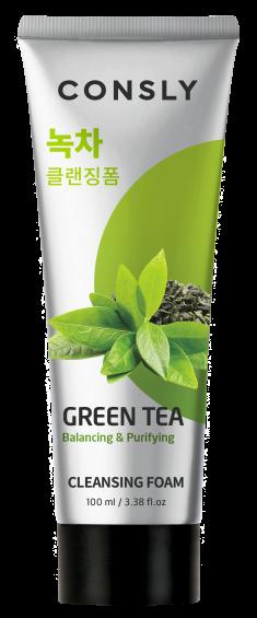 CONSLY Пенка балансирующая кремовая с экстрактом зеленого чая для умывания 100 мл