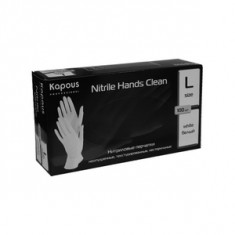 Нитриловые перчатки неопудренные, текстурированные, нестерильные «Nitrile Hands Clean», белые, 100 шт., р-р L (Kapous Professional)
