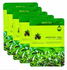 Набор тканевых масок для лица с экстрактом семян зеленого чая FARMSTAY GREEN TEA SEED VISIBLE DIFFERENCE MASK SHEET 23мл*5шт