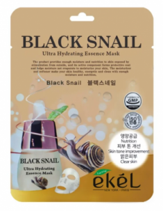 Тканевая маска для лица с муцином черной улитки EKEL Black Snail Ultra Hydrating Essence Mask 25г