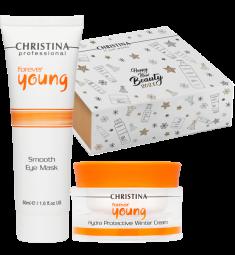 CHRISTINA Набор Надежная защита (крем 50 мл, маска для кожи вокруг глаз 50 мл, коробка-пенал) Forever Young