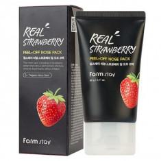маска-пленка с экстрактом клубники для носа farmstay real strawberry peel-off nose pack
