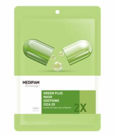 Маска для лица с центеллой успокаивающая Medipam Green plus 2x mask soothing cica 20мл