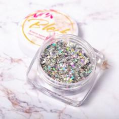 Blesk, Дизайн для ногтей «Блеск кристаллов», серебряный